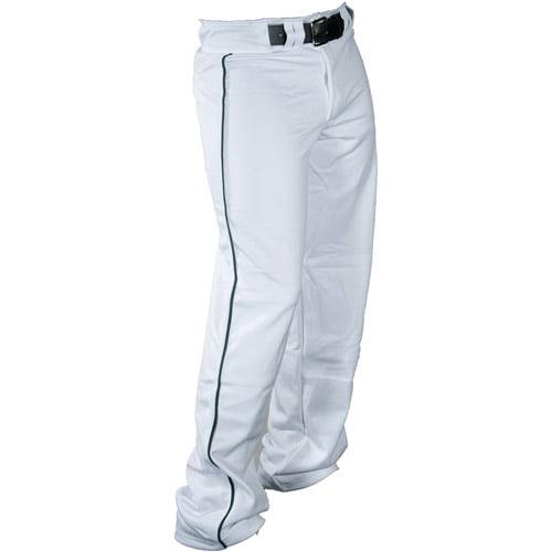 Louisville Slugger Boys' Slugger American Heavy-Warp Knit Boot-Cut Pants, White/Forest Piping
