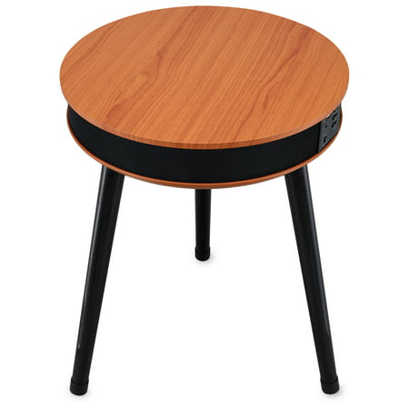 DecorTech Round End Table with Built-In Bluetooth Speaker and USB Charging Port, Walnut