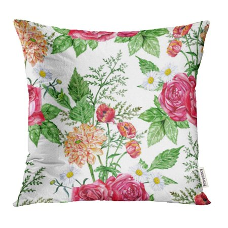 USART Colorful Flower Red Roses Orange Dahlias Poppies and Daisies Watercolor Hand Botanic Pillow Case Pillow Cover 16x16 inch Throw Pillow Covers