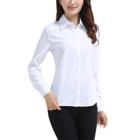 Solid Long Cotton - Women OL White Long-Sleeve Button Solid Cotton Slim Fit Blouse