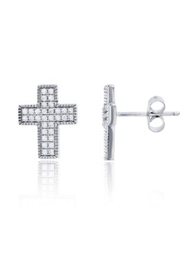 Sterling Silver Rhodium Micropave Cross Stud Earrings for Women | Multiple Styles of Cross Stud | Secure Friction Back Closure | 14k Plated Shiny Classic Earrings