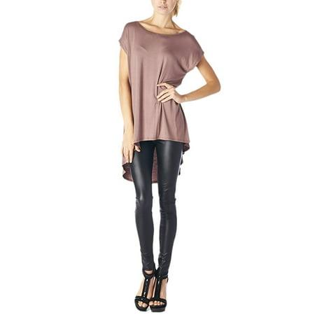 82 Days Women'S Rayon Span High & Low Sleeveless Tunic - Solid