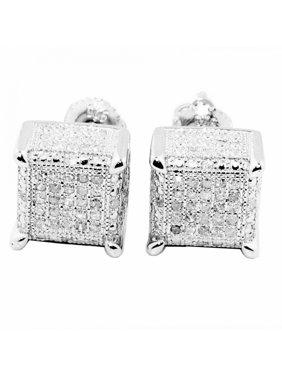 0.3cttw Diamond Earrings Cube Shaped Square 9mm Wide Screw Back Mens Diamond
