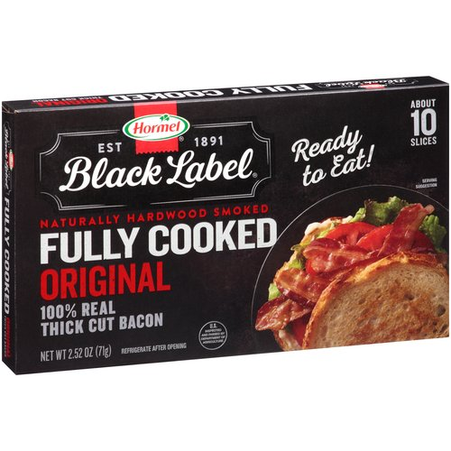 Hormel Black Label Fully Cooked Original Thick Cut Bacon, 2.52 oz