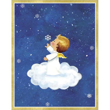 angel on cloudsnowflake christmas cards box of 16 blue christmas