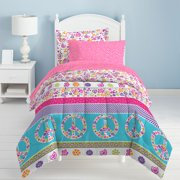 Dream Factory Peace and Love Bed in a Bag Bedding Set