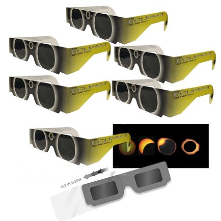 Solar Eclipse Glasses - 6 Sleeved - YELLOW SUN and Animated Eclipse