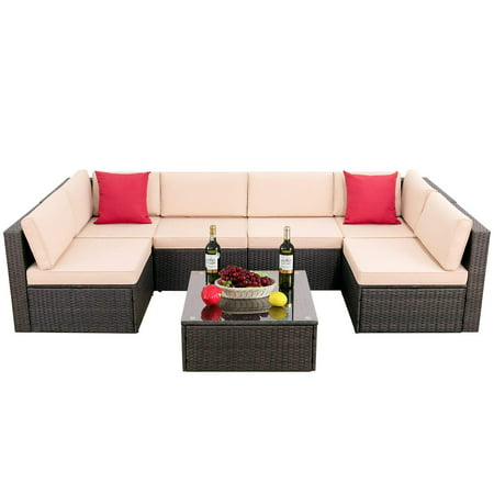 Walnew 7 Pieces Outdoor Sectional Sofa All-Weather Patio Furniture Sets Manual Weaving Wicker Rattan Patio Conversation Sets with Cushion and Glass Table (Brown) ()