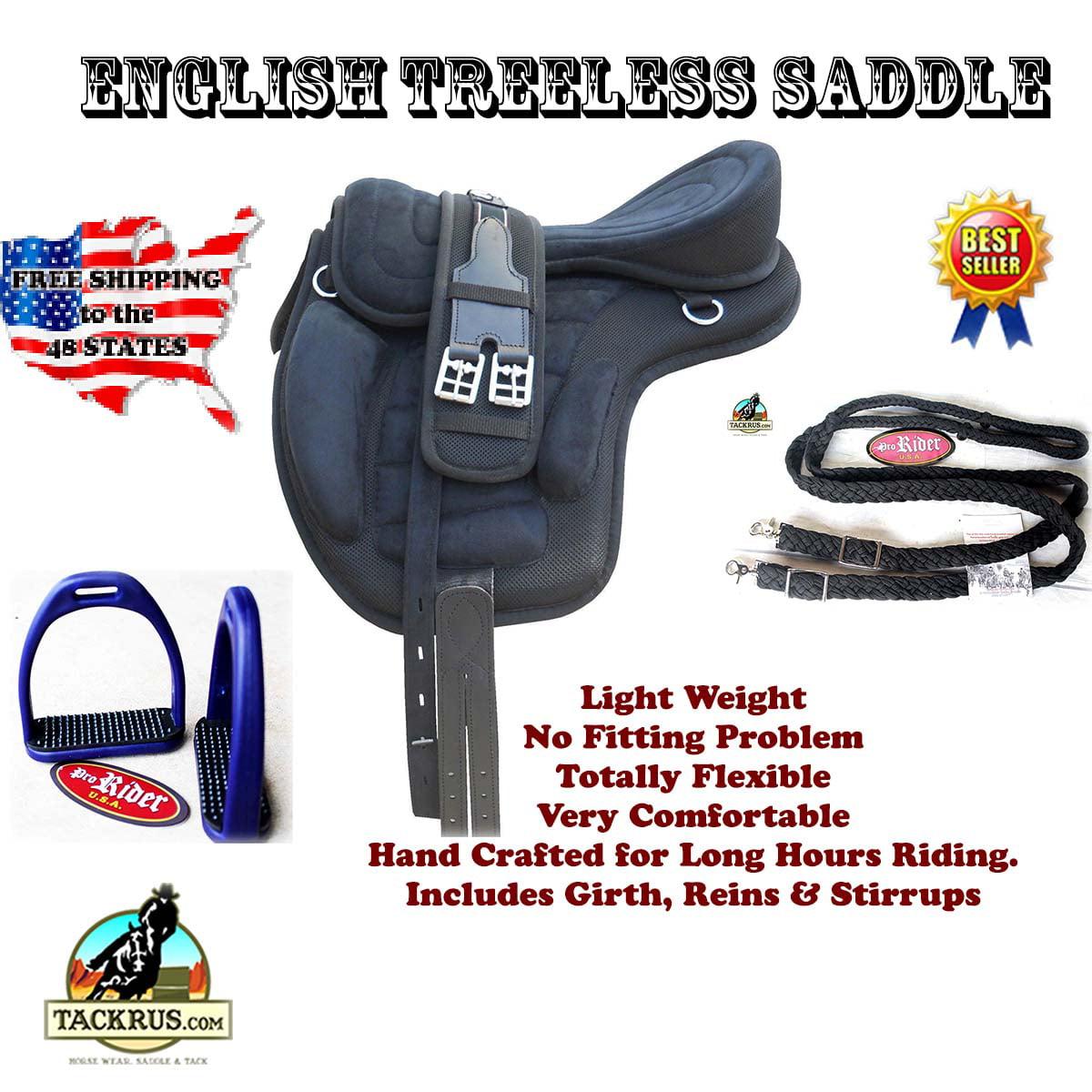 English Horse Professional Equine Synthetic Treeless Saddle Stirrups 80201BK