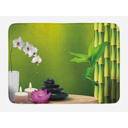 Spa Bath Mat, Bamboo Flower Stone Wax on the Table Orchid Rock Healthy Lifestyle Theme, Non-Slip Plush Mat Bathroom Kitchen Laundry Room Decor, 29.5 X 17.5 Inches, Fern Green Fuchsia White, (Makers Of Wax Goods Bamboo And Fern)