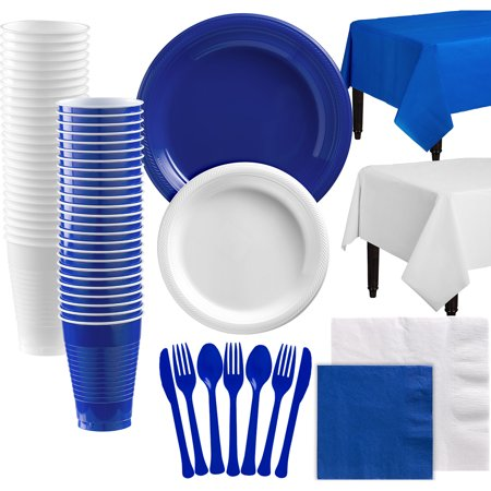 Party City Mix and Match Plastic Tableware Kit for 100 Guests, 852 Pieces, Includes Plates, Napkins, and Table - Party City Littleton