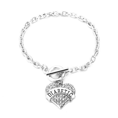 - SEXY SPARKLES DIABETIC Awareness Alert Charm Womens Bracelet,8 7/8 Inches