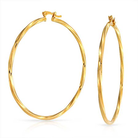 Large Twisted Yellow Gold Filled Hoop Earrings 2.25 Inch ()
