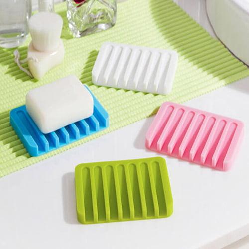 Moderna Flexible Bathroom Silicone Soap Dish Storage Holder Soapbox Plate Tray Drain