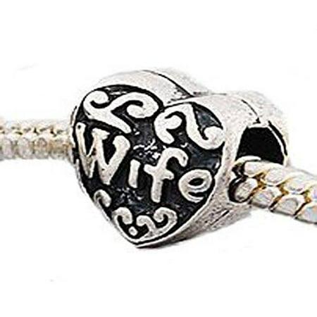 Family Heart Bead Charms for Snake Chain Bracelet (Wife)
