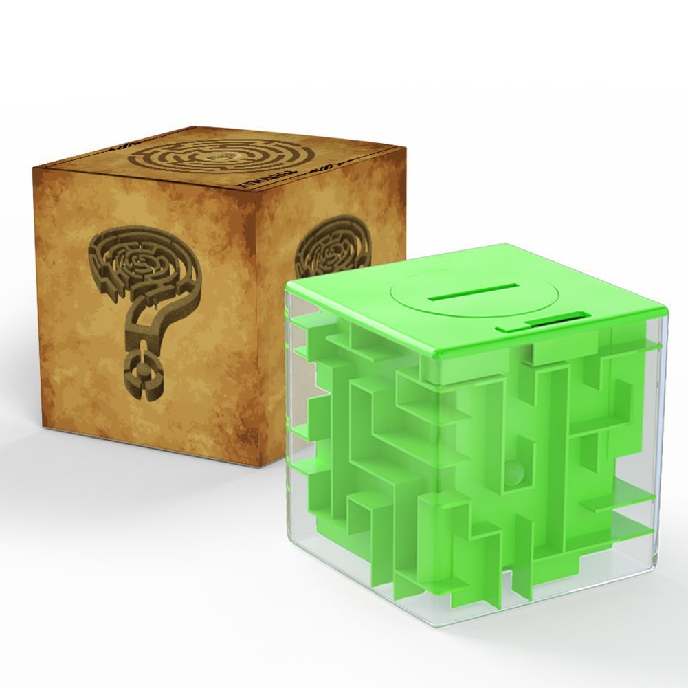 Money Maze Bank 3D Puzzle Coin Box Game Saving Maze For Kids Toys Cube Gifts (Green) by