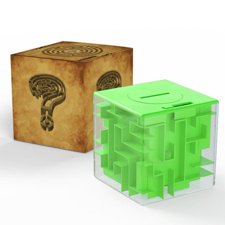 Money Maze Bank 3D Puzzle Coin Box Game Saving Maze For Kids Toys Cube Gifts (Green)