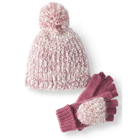 f2b4a3c39fd TIME AND TRU - Women s Cozy Marled Beanie   Poptop Glove 2-Piece Set -  Walmart.com