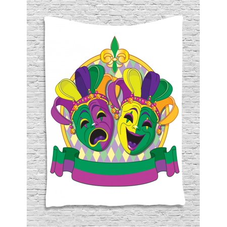 New Orleans Tapestry, Traditional Mardi Gras Comedy and Tragedy Masks Design with Rhombuses Pattern, Wall Hanging for Bedroom Living Room Dorm Decor, 40W X 60L Inches, Multicolor, by Ambesonne](Tragedy And Comedy Masks)