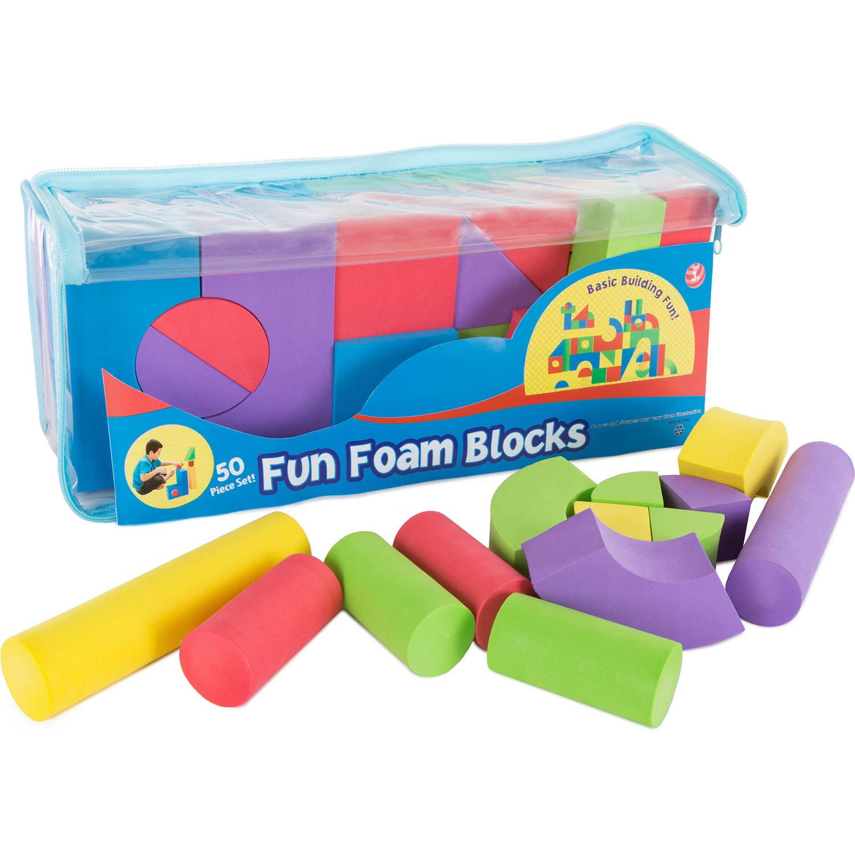 Hey! Play! Foam Building Blocks, 50-Piece Set, Non-toxic EVA by Trademark Global LLC