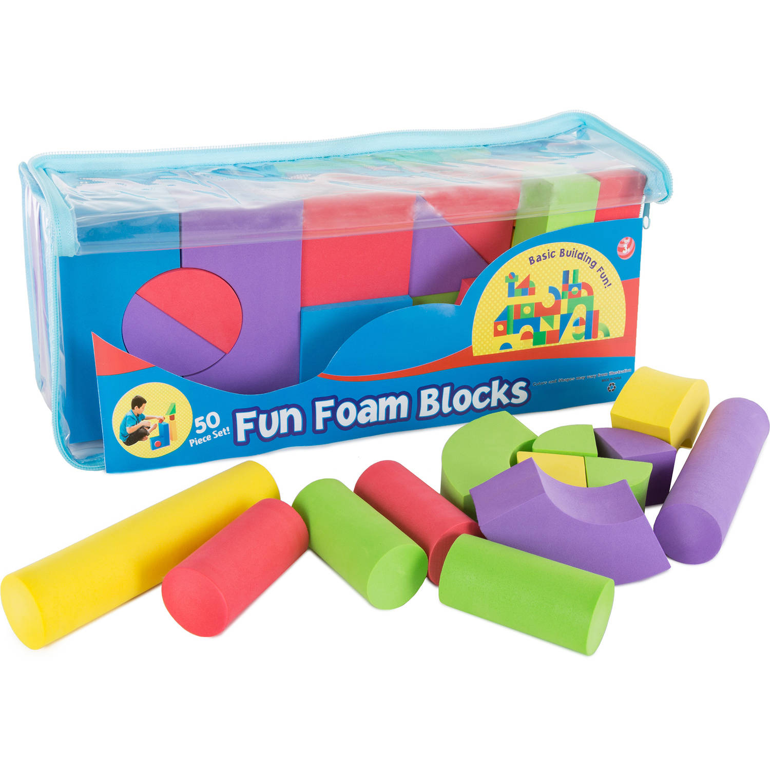 Hey! Play! Foam Building Blocks, 50-Piece Set, Non-toxic EVA