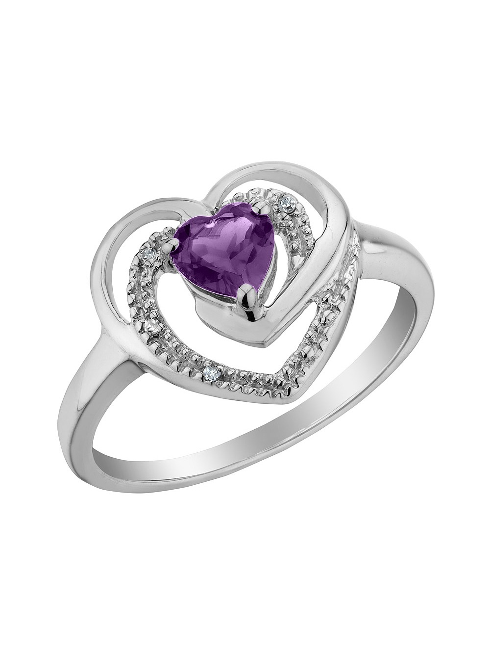 Amethyst Heart Ring with Diamonds 1/3 Carat (ctw) in Sterling Silver