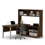 Bestar Pro-Linea L-Desk with Hutch, Oak Barrel