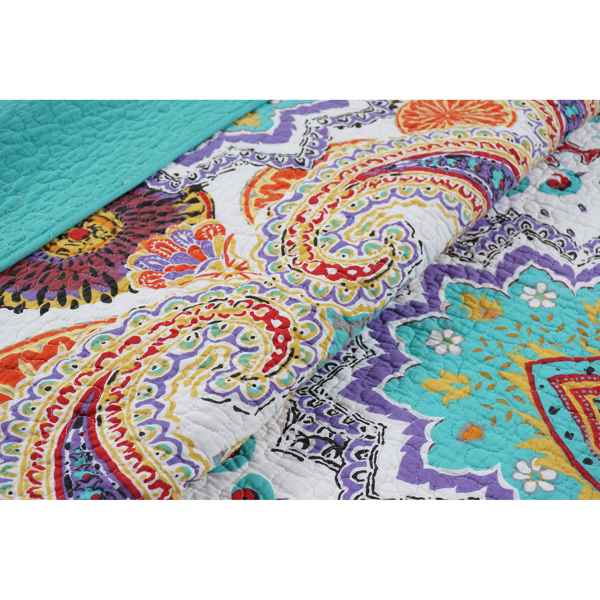 cotton quilts moroccan home bohemian duvet tahari paisley itm piece quilt set queen bedding print cover sateen damask style grey medallion blue