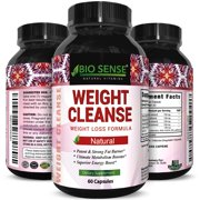 Bio Sense Weight Cleanse Supplement for Men and Women Natural Weight Loss Complex Diet Pills with Garcinia Cambogia, Green Coffee Bean, Raspberry Ketones, Green Tea Extract for Fat Burn 60 Capsules