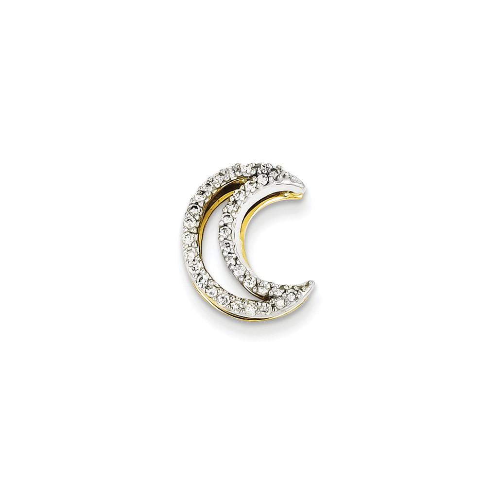 14k Two Tone Gold Diamond Moon Slide. Carat Wt- 0.2ct