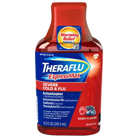 Theraflu ExpressMax Severe Cold & Flu Berry Warming Relief Formula Syrup for Cold & Flu Relief, 8.3