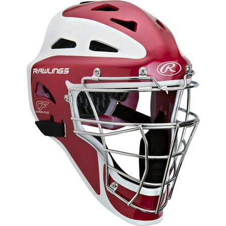 Rawlings Pro Preferred CoolFlo Youth baseball catchers gear helmet mask Scarlet ()