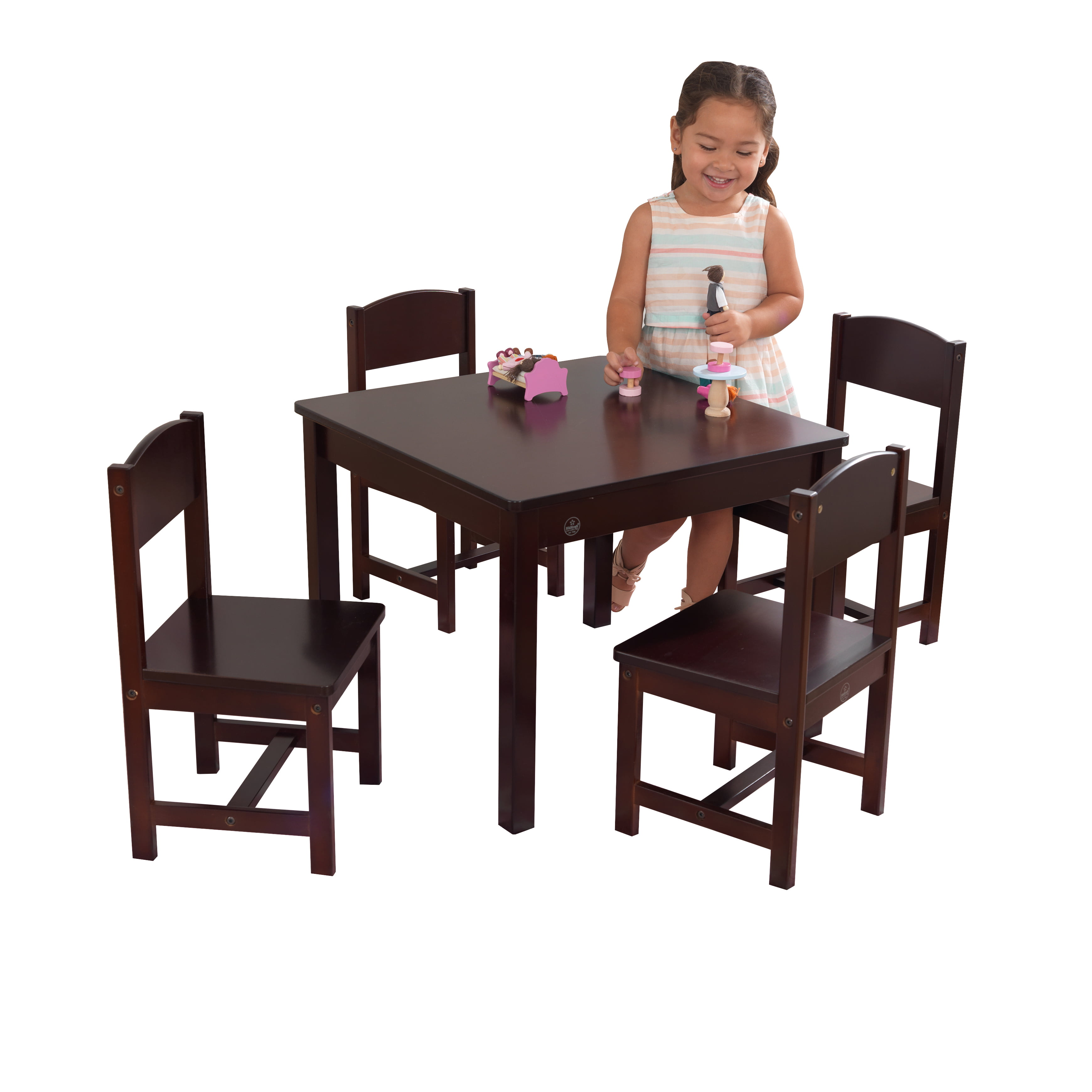 Kids Table And Chairs Set Espresso: KidKraft Farmhouse Table & 4 Chair Set