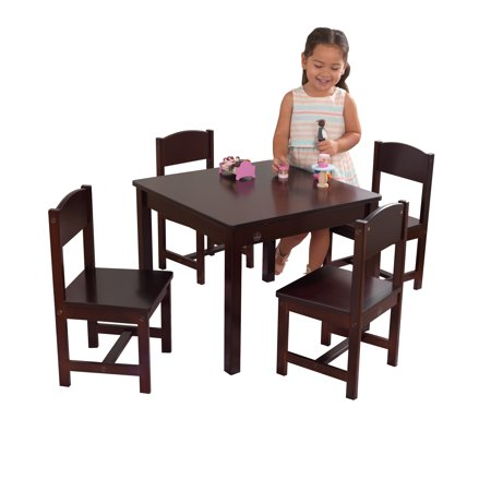 KidKraft Farmhouse Wood Table and 4 Chairs Set, Multiple Colors