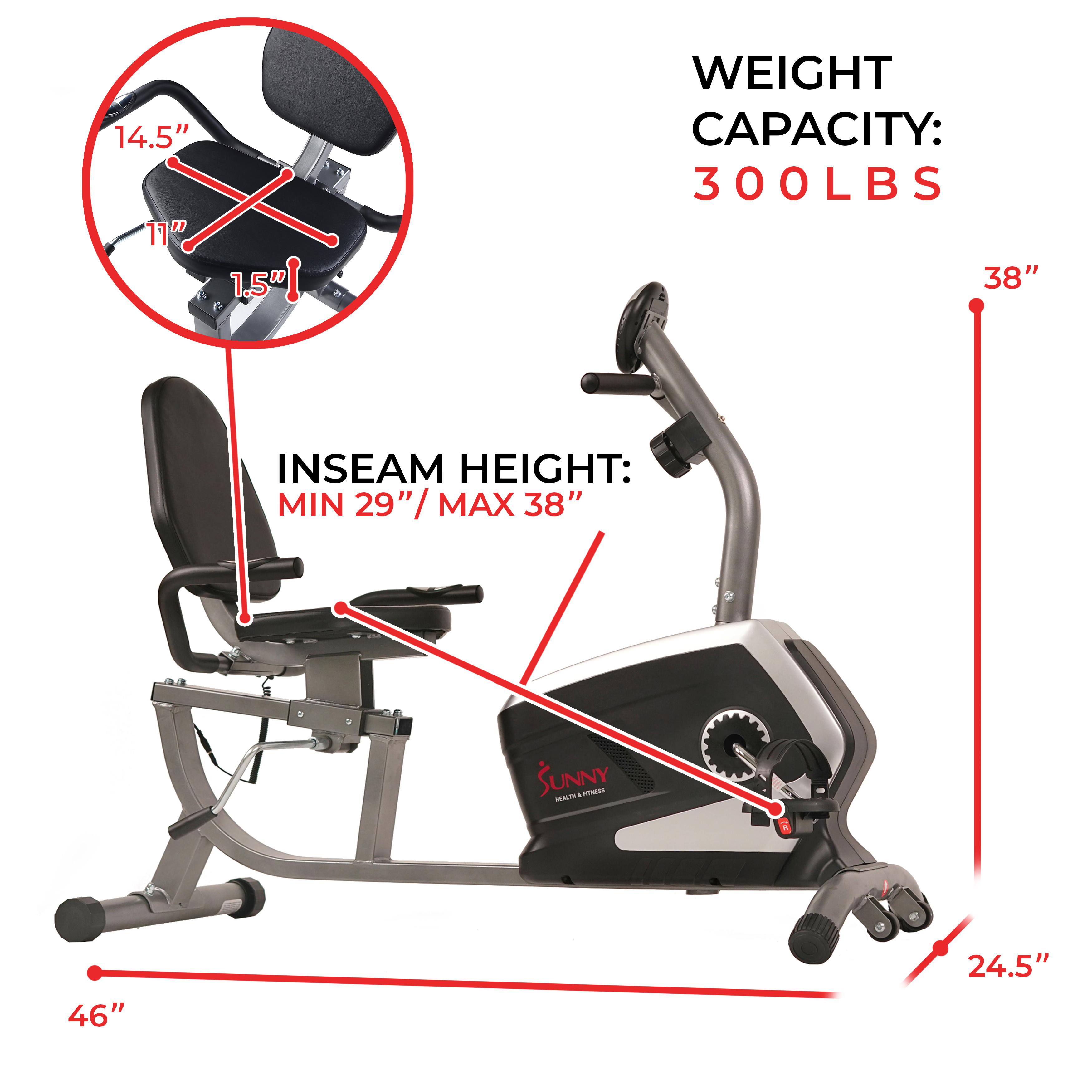 Sunny Health & Fitness SF-RB4616 Magnetic Recumbent Bike Exercise