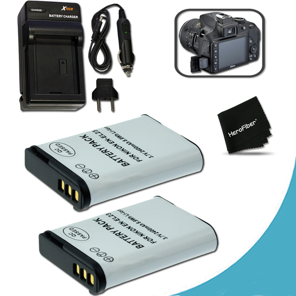2 High Capacity (Replacement) Nikon EN-EL23 / ENEL23 Batteries + Quick Rapid AC/DC Charger Kit for Nikon Coolpix P900 P610 P600 S810c Digital Cameras