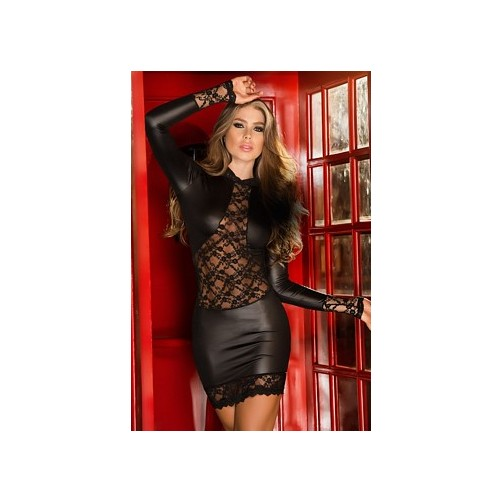 Long Sleeve Mesh Window Dress 4247 by Espiral Black