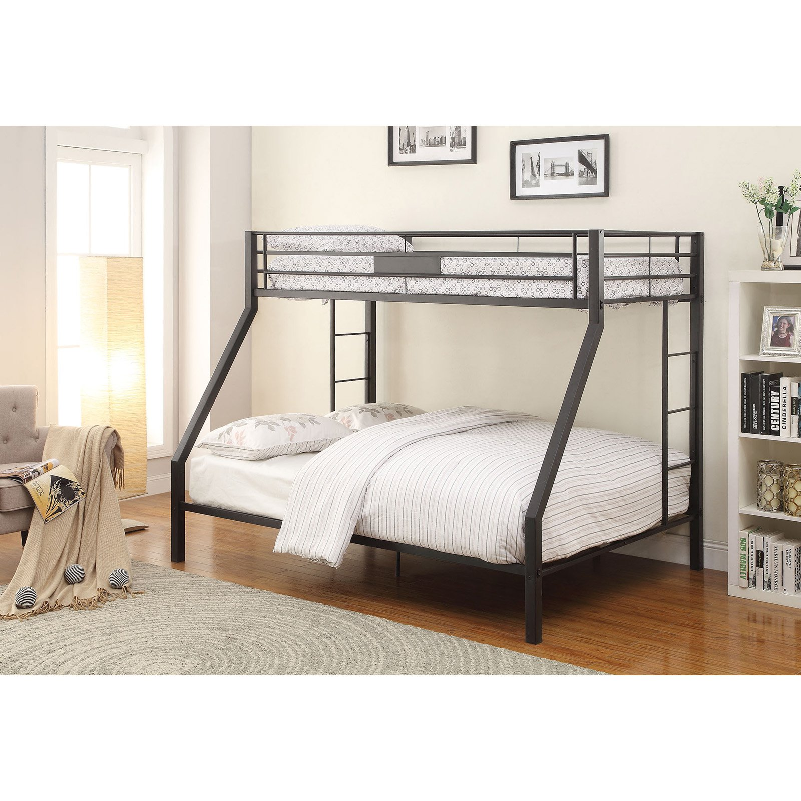 ACME Limbra Twin XL over Queen Bunk Bed in Sandy Black, Multiple Sizes