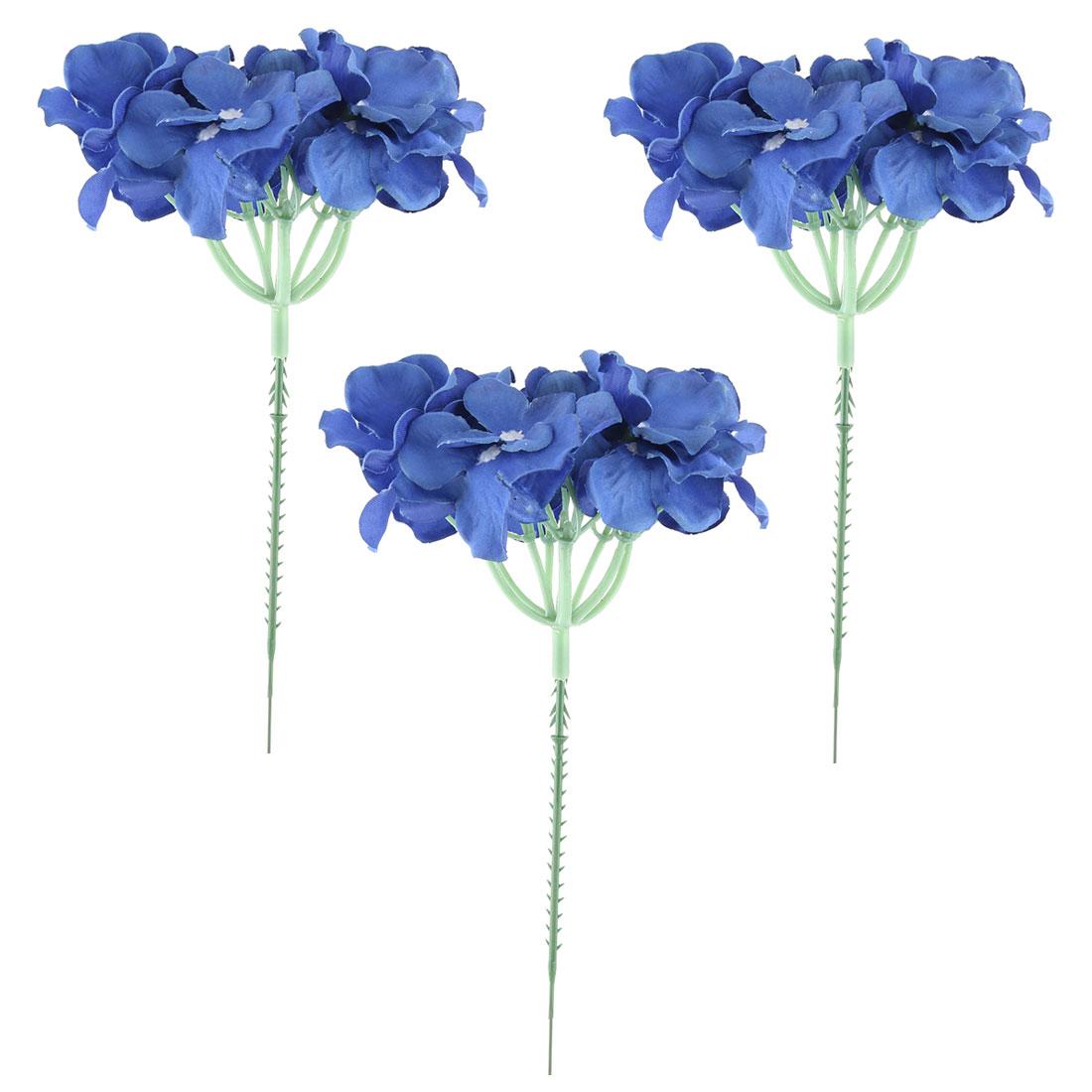 Wedding Fabric Artificial Flower Head Decorative Petals Craft Royal Blue 3pcs