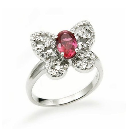 Sterling Silver Red Gem Cubic Zirconia Butterfly Fashion Ring ()