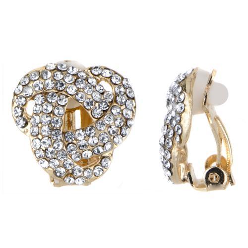 Emitations Goldtone Knot Rhinestone Embellished Clip In Earrings