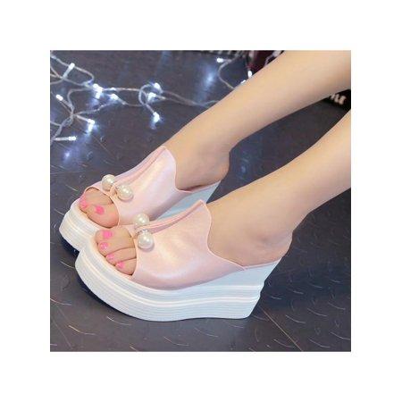Fashion Women High Heel Sandals Pearls Slippers Wedge Open Toe Platform