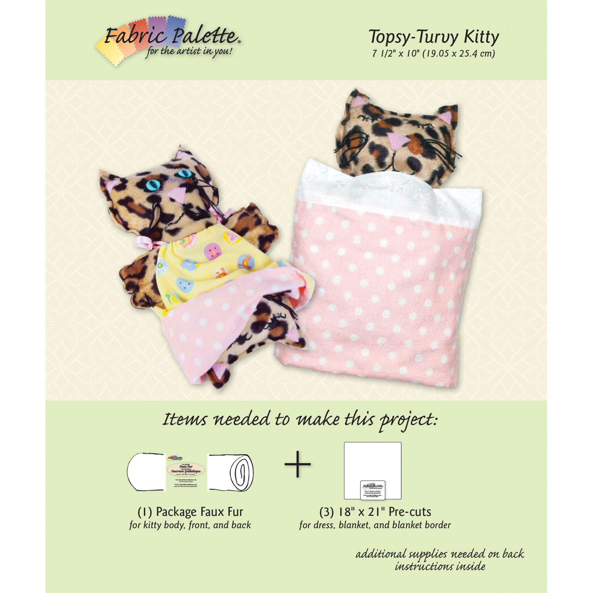 Fabric Editions Fabric Editions Design Sheet, Topsy-Turvy Kitty Multi-Colored