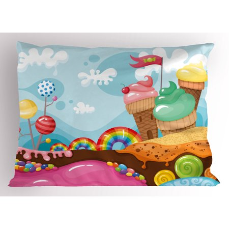 Ice Cream Pillow Sham Dessert Land with Rainbow Candies Lollipop Trees and Cupcake Mountains Cartoon, Decorative Standard Queen Size Printed Pillowcase, 30 X 20 Inches, Multicolor, by Ambesonne - Cupcake Queen
