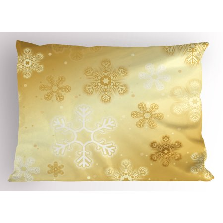 Christmas Pillow Sham Snowflakes Pattern on Gold Color Background Noel Holiday Yule Winter Themed Artsy Image, Decorative Standard Size Printed Pillowcase, 26 X 20 Inches, Gold, by Ambesonne ()
