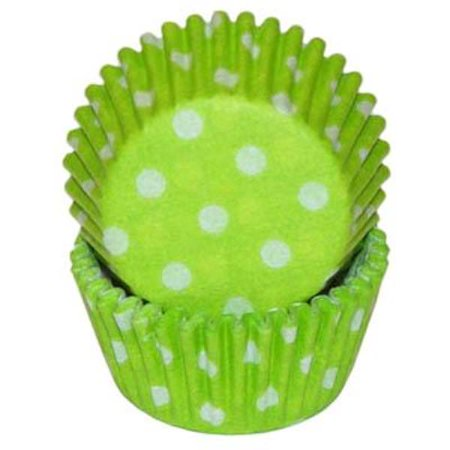 Mini Lime Green & White Polka Dot Baking Cupcake Liners - 100 Count
