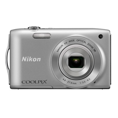 "Nikon COOLPIX S3300 Silver 16MP Digital Camera w/ 6x Optical Zoom Lens, 2.7"" LCD Display, HD Video, Image Stabilization"