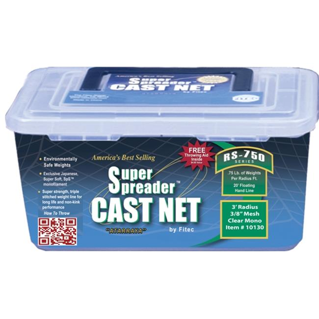Fitec 10170 7 ft. RS750 Super Spreader Cast Net 0.38 in. Mesh Clear 0.75 lbs.