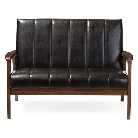 **DISCONTINUED** Baxton Studio Nikko Mid-century Modern Scandinavian Style Black Faux Leather Wooden 2-Seater Loveseat (box 2 of 3)