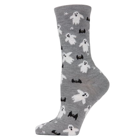 MeMoi Flying Ghost Crew Socks | Women's Halloween Novelty Socks One Size 9-11 / Medium Gray Heather MF7 946